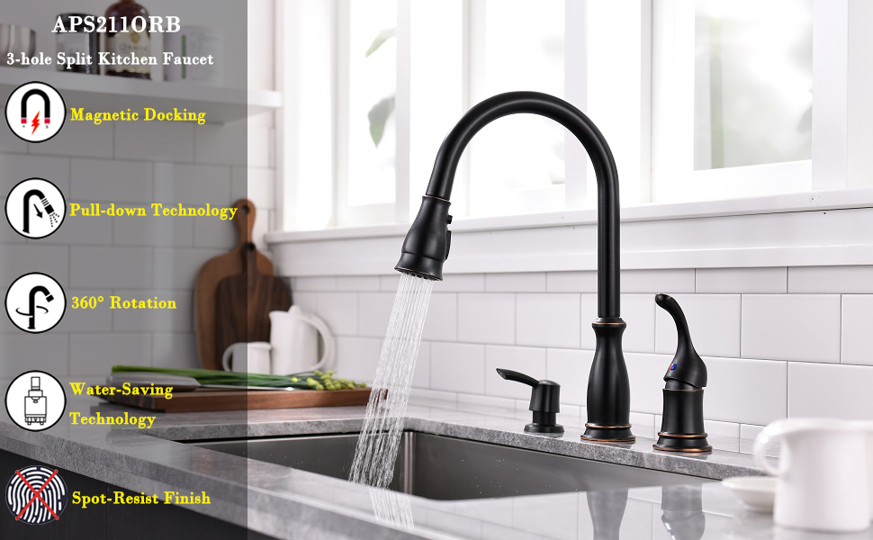 appaso 3 hole kitchen faucet with pull down magnetic docking sprayer oil rubbed bronze 2 hole pull out kitchen sink faucet with side single handle