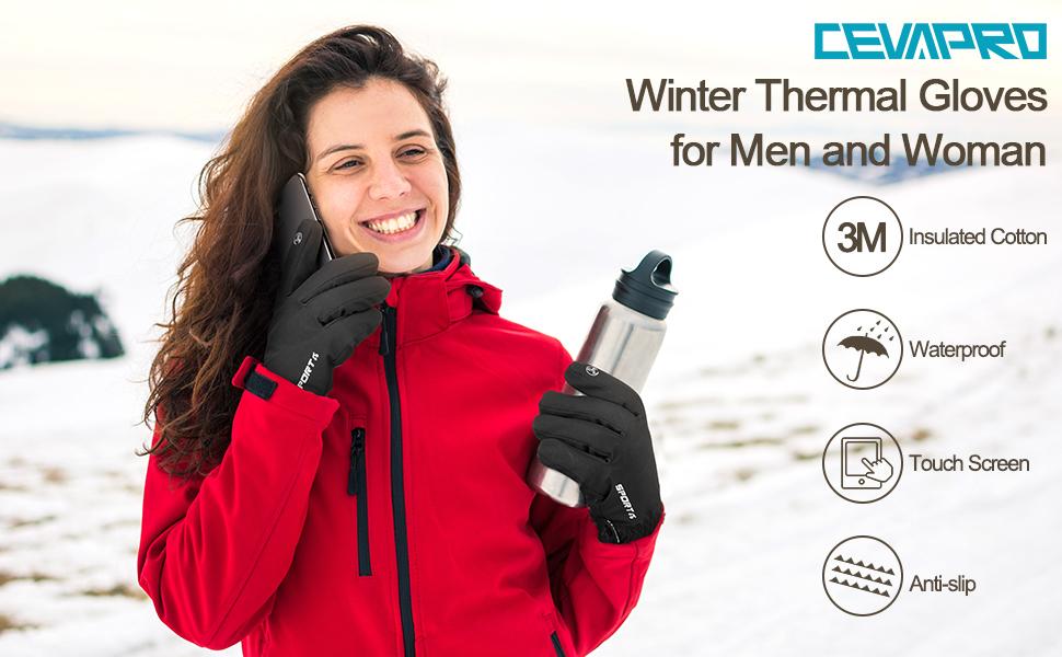 Cevapro -30℉ Winter Gloves Touchscreen Gloves Thermal Gloves for Running
