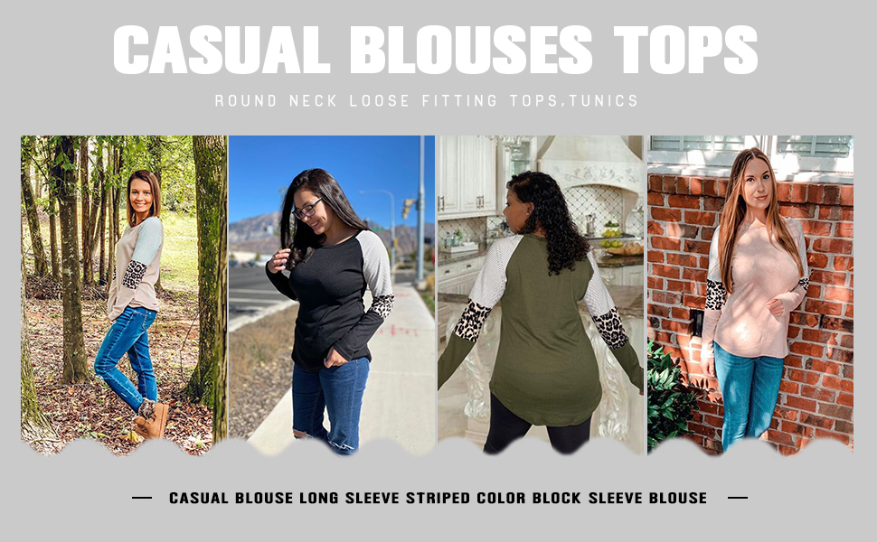 Womens Long Sleeve Tunic Basic Round Neck T Shirts Fall Loose Fitting Casual Tops