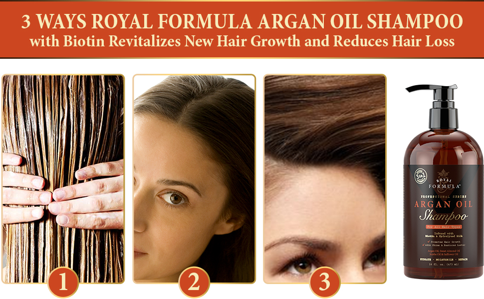 3 in 1 Argan Oil Hair Shampoo with Biotin Revitalizes New Hair Growth and Reduces Hair Loss