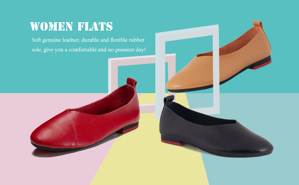 Ruiatoo Slip-on Shoes for Women Casual Glove Shoes Genuine Leather Comfort Ballet Flat