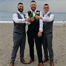 Men's Business Suit Vest Layered Plaid Dress Vest Waistcoat for Wedding,Party
