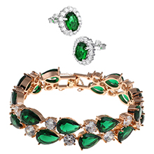 crystal gemstone emerald gold plated bracelet Handcrafted jewellery cuff bangle Perfect present