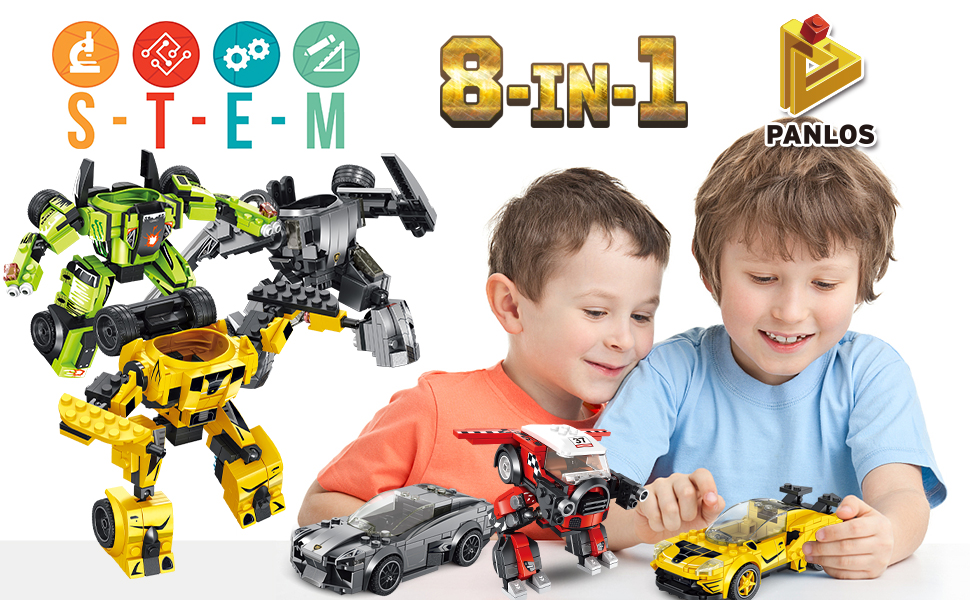 PANLOS STEM Robot Educational Learning Building Bricks Toy Carrier Truck Set Vehicles Gifts for Kids Boys and Girls Tight Fit and Compatible with All Major Brands Yellow