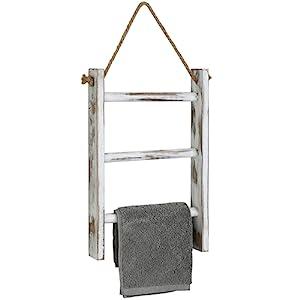 white wood wall mounted hanging ladder decorative towel holder rack bathroom towels storage hanger