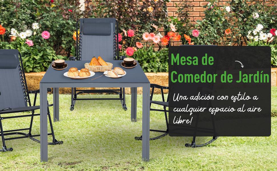 Outsunny Mesa de Jardín Terraza de Aluminio Mesa Comedor Exterior Mesa Auxiliar Rectangular Tabla Vidrio Templado Carga 60kg 87x87x72cm: Amazon.es: Jardín