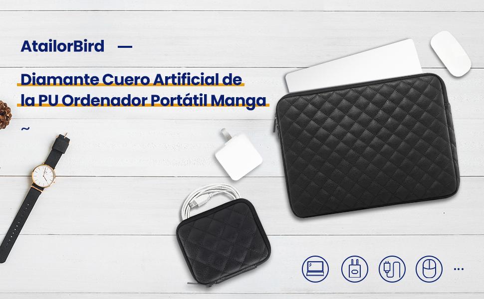 AtailorBird Funda Ordenador Port/átil 15-15,6 Cuero de PU Impermeable Estilo Diamante Funda Protectora Port/átil con Bolsita para Accesorios Negro
