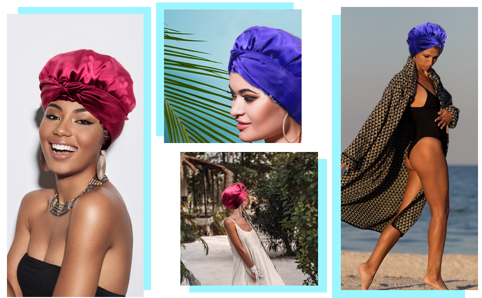 Satin scarf bonnets are not only can be used as sleep cap, also you can wear outdoor or on vacation