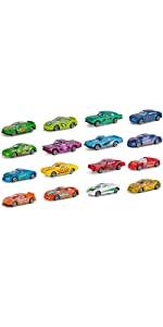 16 Pcs Mini Multicolor Race Car Set