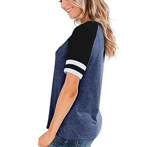 teen girl short sleeve round neck tops,Stripe short sleeve shirt,baseball blouse
