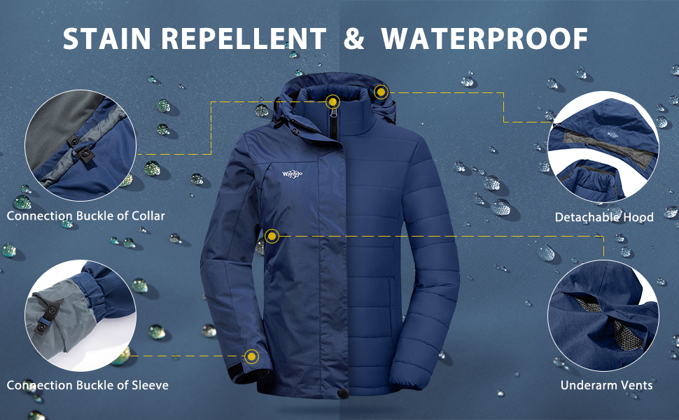 Wantdo Women's 3-in-1 Waterproof Ski Jacket