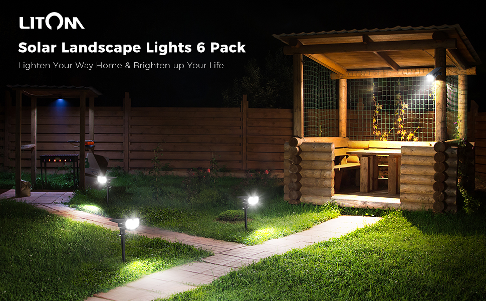 Litom 12LED Solar Lights Landscape Spotlight Outdoor Yard Garden Lamp Waterproof