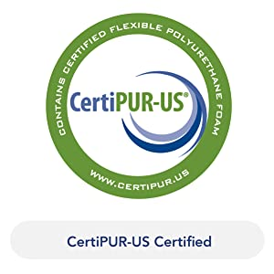 """Logo of CertiPUR-US. Text below reads """"CertiPUR-US Certified"""""""
