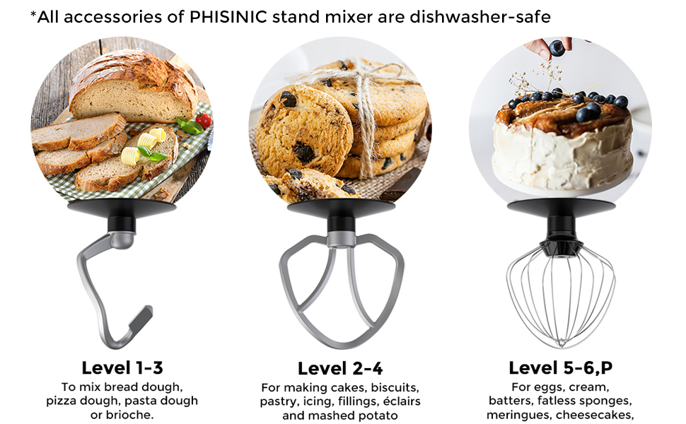 phisinic stand mixer attachment food mixer accessories dishwasher safe dough hook flat beater whisk