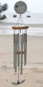 Silver memorial wind chime with forget me not flower design and poem