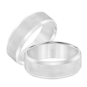 10K White Gold 7MM Classic Plain Satin Wedding Band Ring for Men and Women