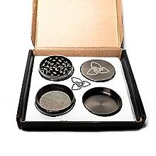 pollen mesh catcher scraper 4 parts compartments premium deluxe grinder