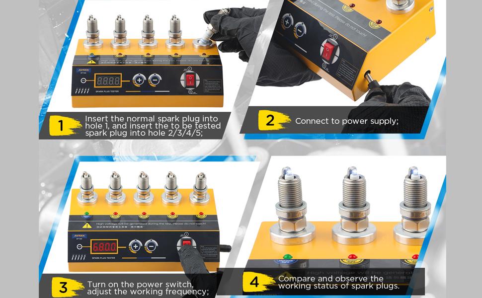 Car Spark Plug Tester Ignition Plug Analyzer 220V Car Diagnostic Tool with Adjustable 5 Testing Hole