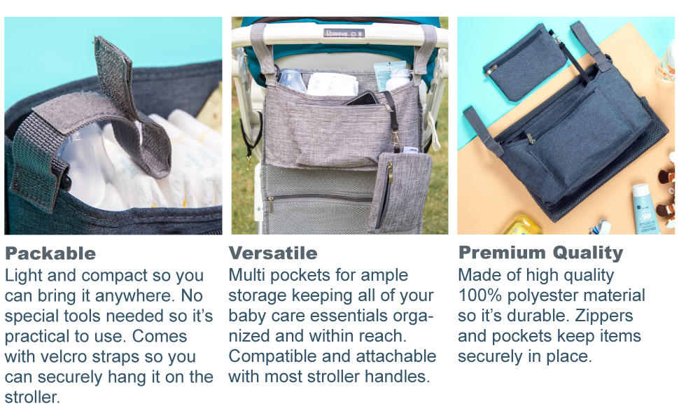 stroller accessory organizer bag cup holders universal accessories baby travel caddy shower gift mom