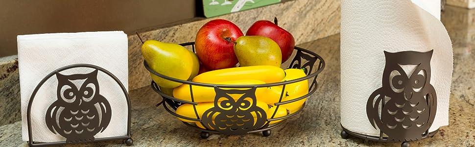 Owl, Papertowel Holder, napkin holder, fruit bowl, Kitchen sets, bronze kitchen sets, Owl design