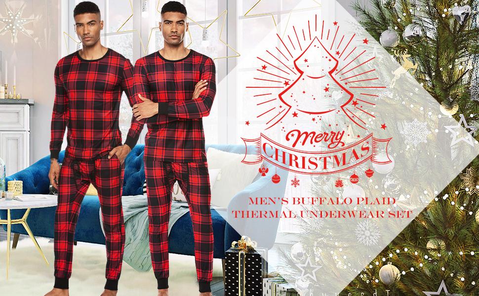 plaid thermal pajama set