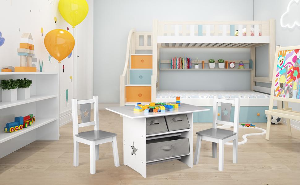 WOLTU Tavolo da Gioco per Bambini Scrivania da Pittura con Cassetti Tavolino con 2 Sedie in Legno SG011