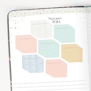 Agenda 2021 semainier, calendriers mensuels, notes, liste, plans, enregistrer vos objectifs et rêves