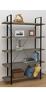 Vintage Industrial Style Bookcase in Gray Oak