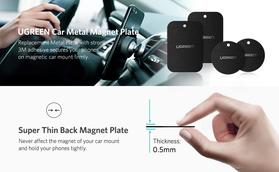 UGREEN Metal Plate For Cell Phone Magnet Holder Magnetic Car Mount