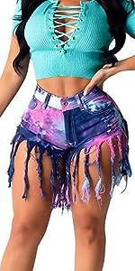 Weigou Women Denim Shorts High Waisted Tassels Summer Stretchy Frayed Raw Hem Short Jeans
