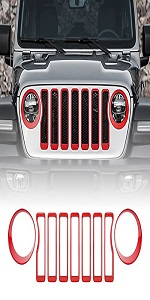 Grill Inserts amp; Headlight Covers Trim for 2018-2021 Jeep wrangler JL Sport/ Sport S