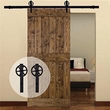 121CM/4FT puertas acero puerta corrediza de granero Hardware Herraje para Puerta de Granero Corredera de: Amazon.es: Bricolaje y herramientas