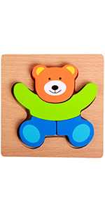 Mini Wooden Chunky Puzzle Educational Wooden Toddler Jigsaw Puzzles with Teddy Bear, Ladybug