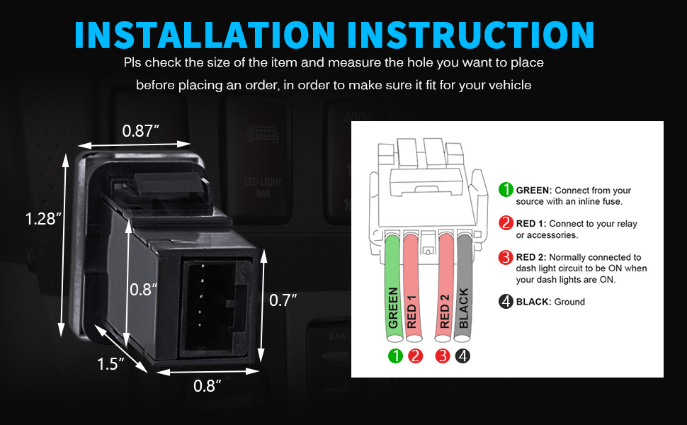 ROTARY BEACON Symbol Backlit Switch Modern Model Push Button compatible with Toyota Blue//Surface size 1.28 x 0.87 inches