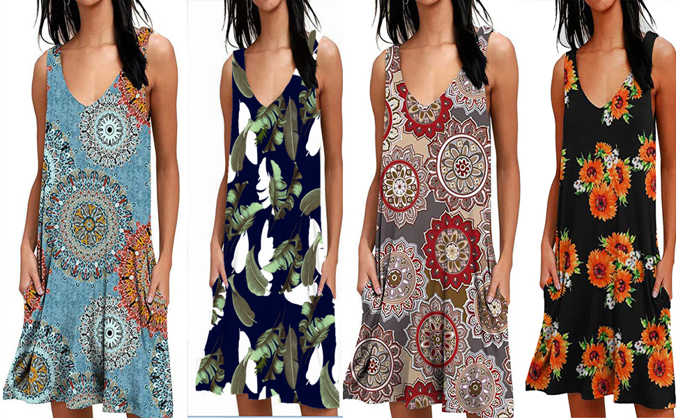 Dress for Women Bow Neck Sleeveless Button Lace A-Line Fashion Floral Tank Dress Summer Beach Length Dress with Side Pockets