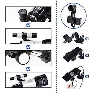 Teleskop f/ür Kinder Smartphone-Adapter und Rucksack 150 x tragbares Reise-Zielfernrohr 70//300 HD Gro/ßansicht Refraktor mit Kamera-Drahtausl/öser Astronomie-Anf/änger