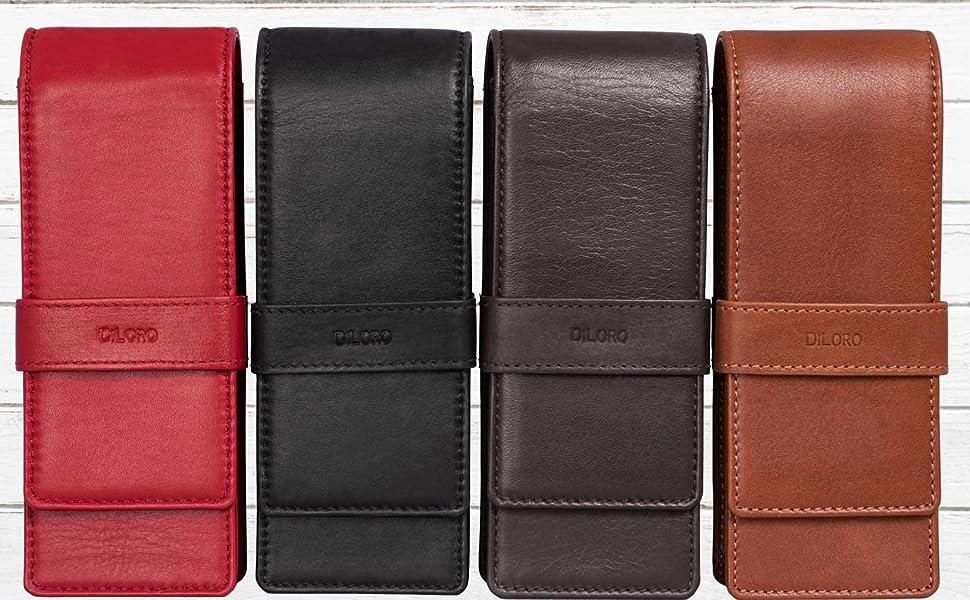 DiLoro Leather Triple Three Pen Pencil Case Holder