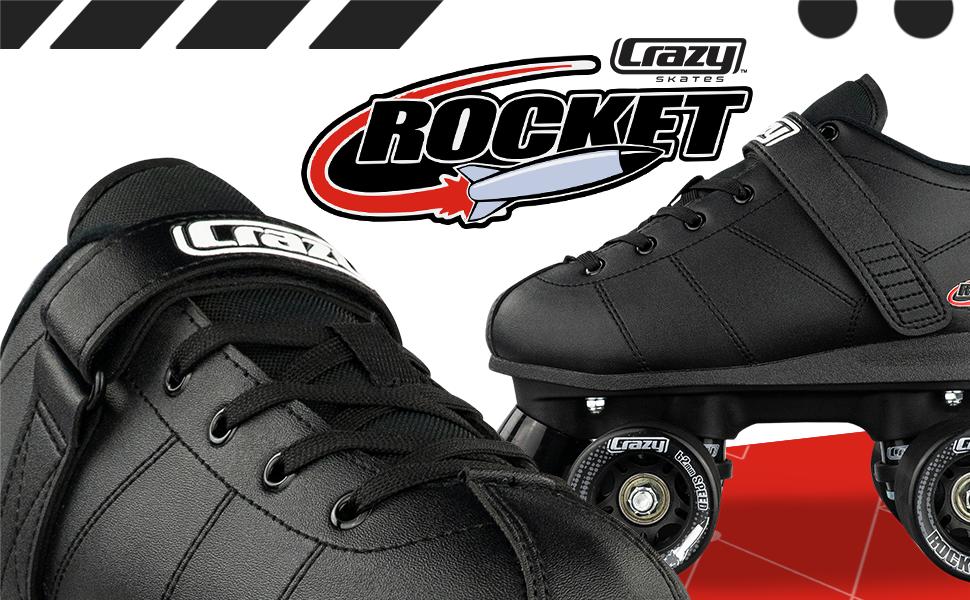 Crazy Skates Rocket Roller Skate Rollerskates black speed abec wheels indoor outdoor rink derby