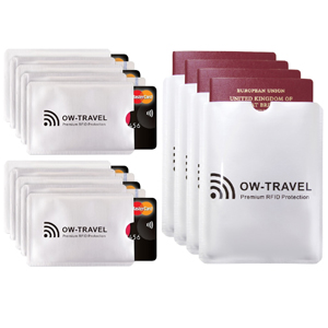 RFID card protector sleeves. Credit card protectors 10 and Passport Sleeves 5 Bank RFID Cardholder