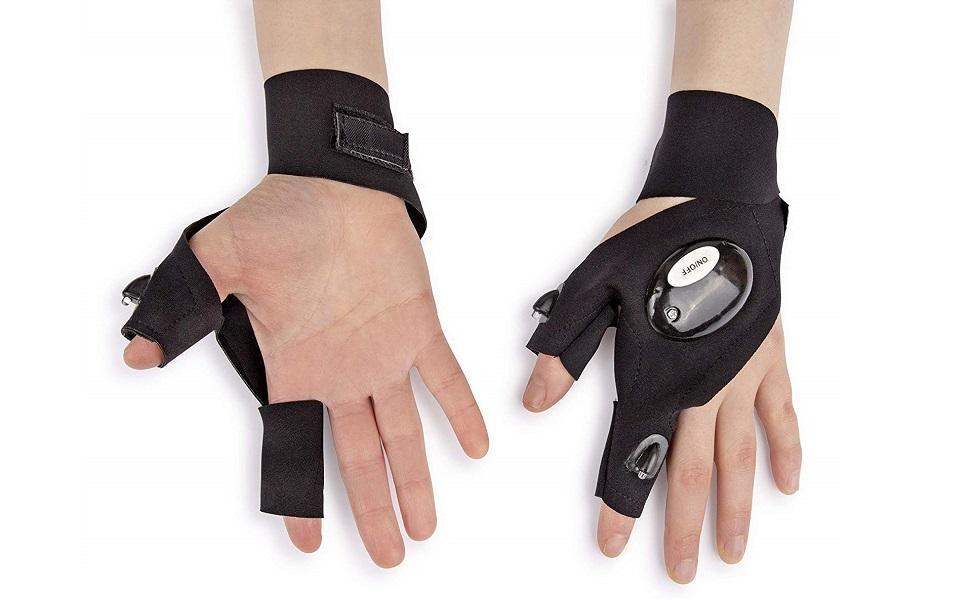 US SHIP Anti-Slip Half Finger Fishing LED Gloves for Light Repairing Outdoor