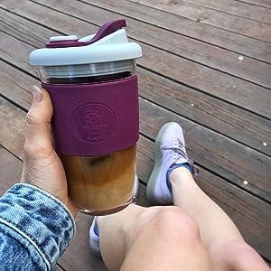 Reusable coffee glass mug