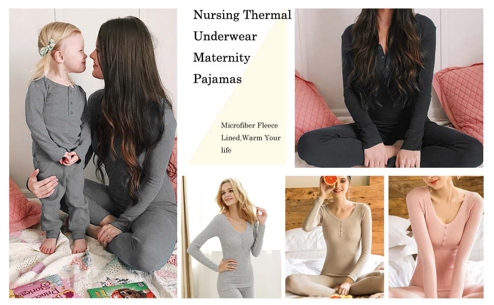 The ingenious nursing access design of this maternity thermal underwear set helps you breastfeed