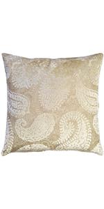 Rochelle Vanilla Paisley Velvet Pillow