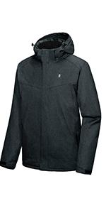 Men's Waterproof Jacket with Removable Hood