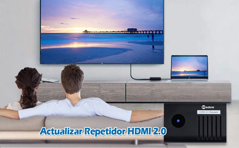 Repetidor HDMI 4K, edola 2.0 Amplificador de señal HDMI 4K@60Hz, Amplificador repetidor HDMI 3D, Extensor HDMI de hasta 40 m para PC/PS4/DVD/ TV Box: Amazon.es: Electrónica