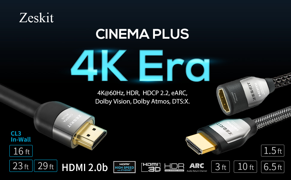 Cinema Plus 28AWG 4K HDR HDMI Cable 4K 60Hz 4:4:4 HDCP 2.2 Exceed 22.28 Gbps HDMI 2.0 Compatible with Xbox PS4 Pro nVidia AMD Apple TV 4K Roku Fire Netflix LG Sony Samsung 1.5ft 2-Pack