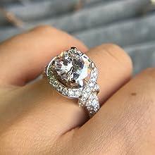 Moissanite Halo ring wedding