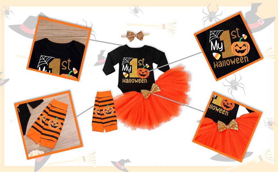 Baby Girls Pumpkin Print Tutu Dress Skirt Set
