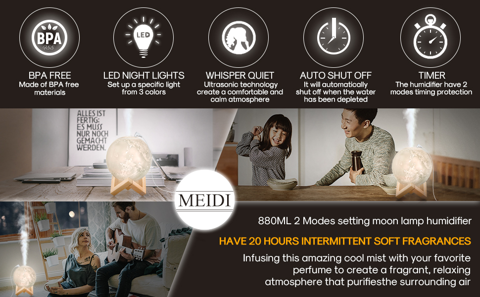 MEIDI Moon Light Humidifiers LED Desk Full Moon Lamp Diffuser Moon Night Light with Cool Mist Humidifier Function, Adjustable Brightness and Mist Mode