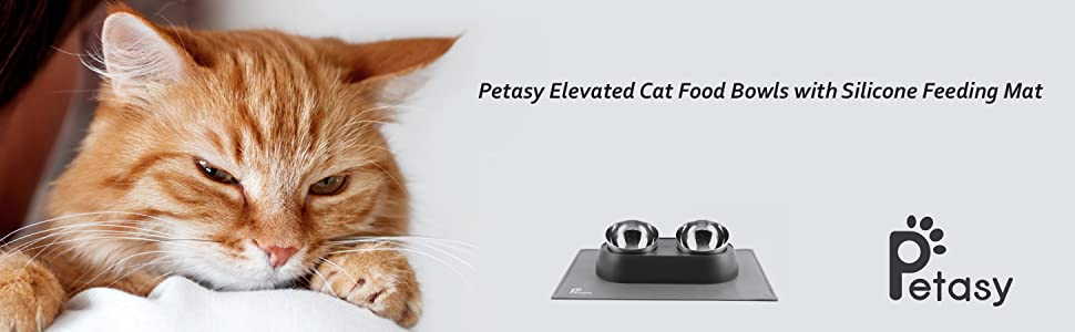 Petasy Elevated Cat Food Bowls with Silicone Feeding Mat